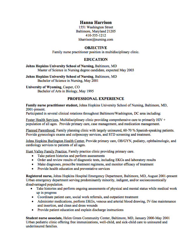 Nursing School Resume Graduate Nurse Practitioner Cv Samples  Httpresumesdesign