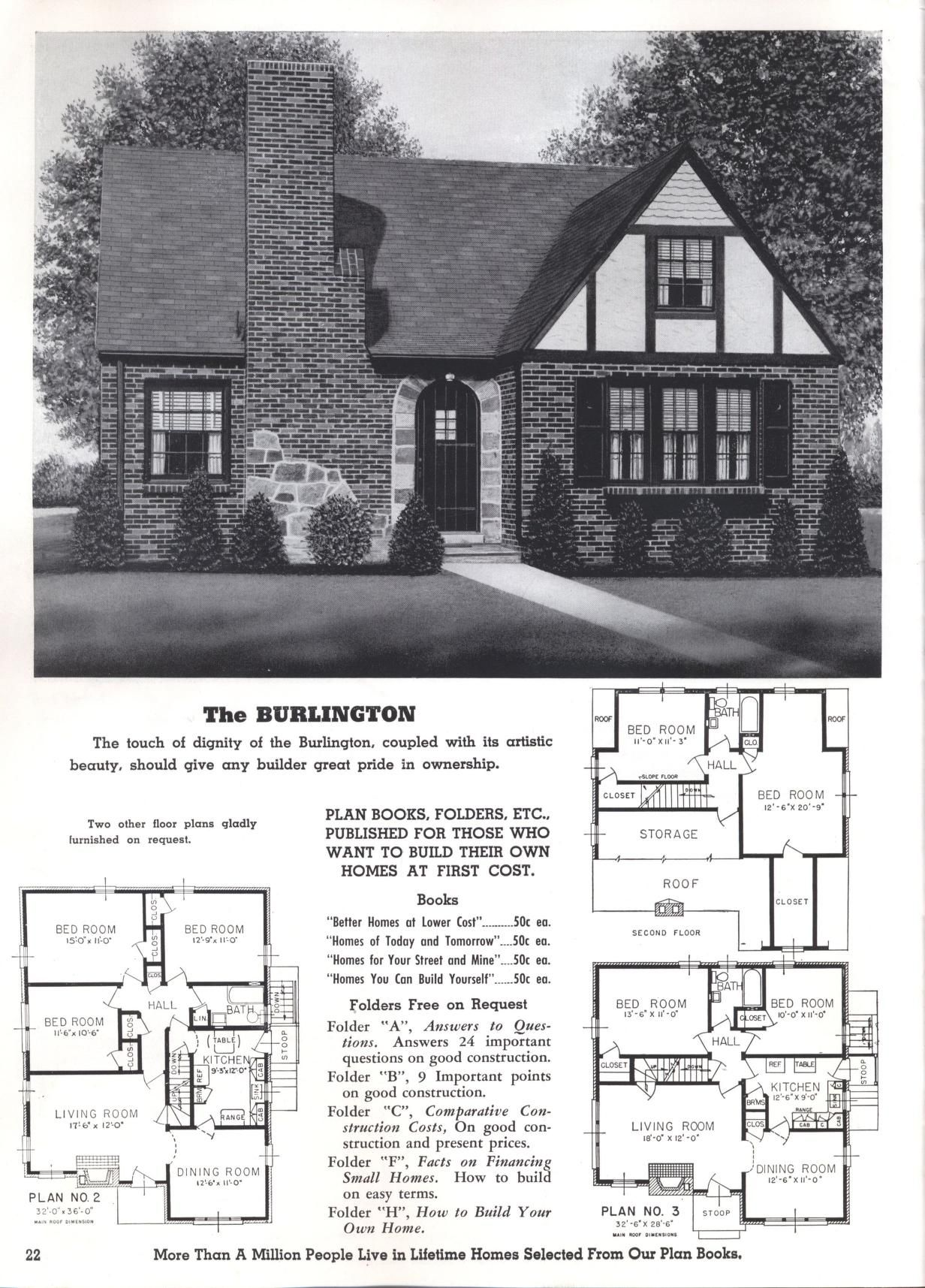 Better Homes At Lower Cost A 50 By Standard Homes Co Publication Date 1950 The Burlington Vintage House Plans House Design Old Houses