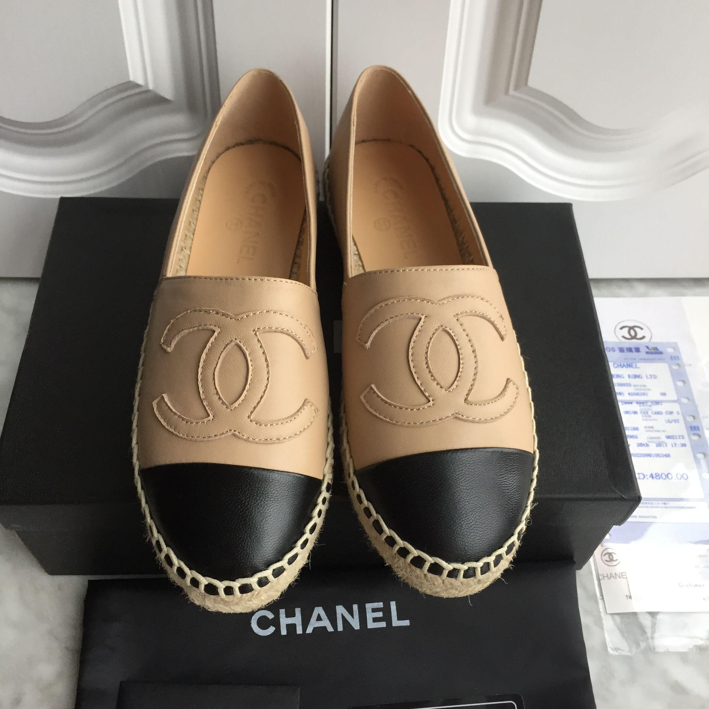 7ea98a2ce4ea Chanel woman shoes leather espadrilles flats beige black | my ...