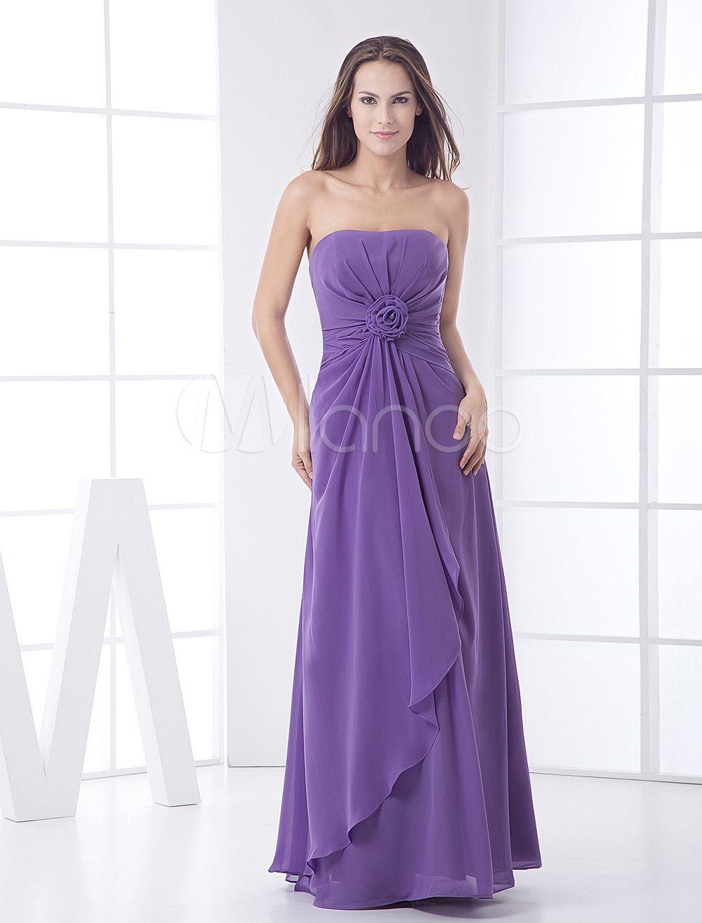 Vestido damas de color lavanda de gasa estilo imperio sin tirantes ...