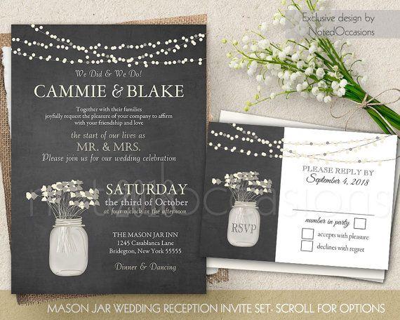 I Do BBQ Wedding Reception Only Invitation Printable Set Rustic