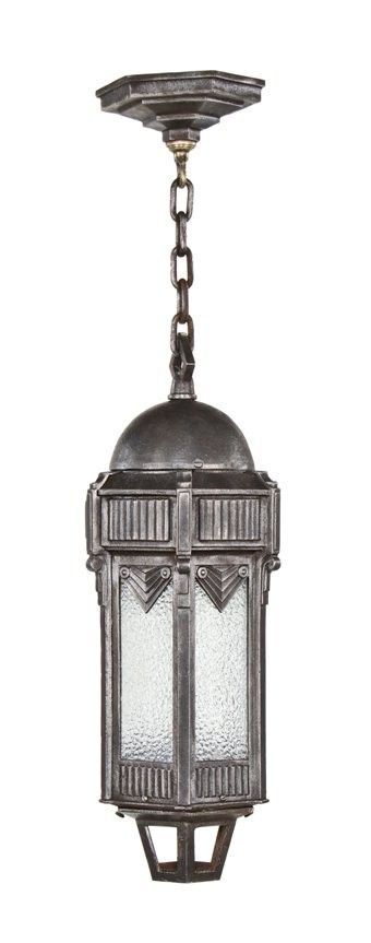 Exceptional late 1920s american art deco ornamental cast iron exceptional late 1920s american art deco ornamental cast iron exterior commercial building pendant light with original mozeypictures Choice Image