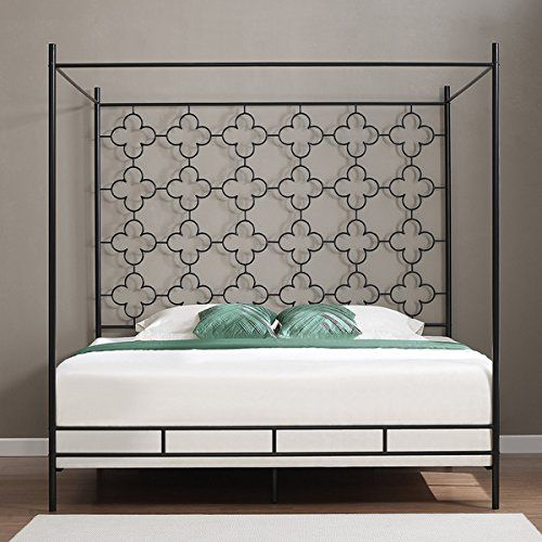 Metal Canopy Bed Frame King Sized Adult Kids Princess Bedroom Furniture * Black Wrought Iron Style Vintage Antique Look * Hang Shear Curtains or Mosquito ... & Amazon.com - Metal Canopy Bed Frame King Sized Adult Kids Princess ...