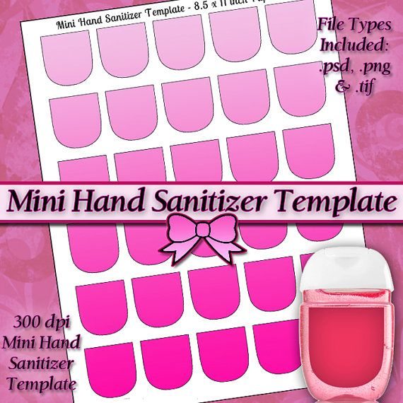 Mini Hand Sanitizer Label Template Instant By Quitepossiblyperfect