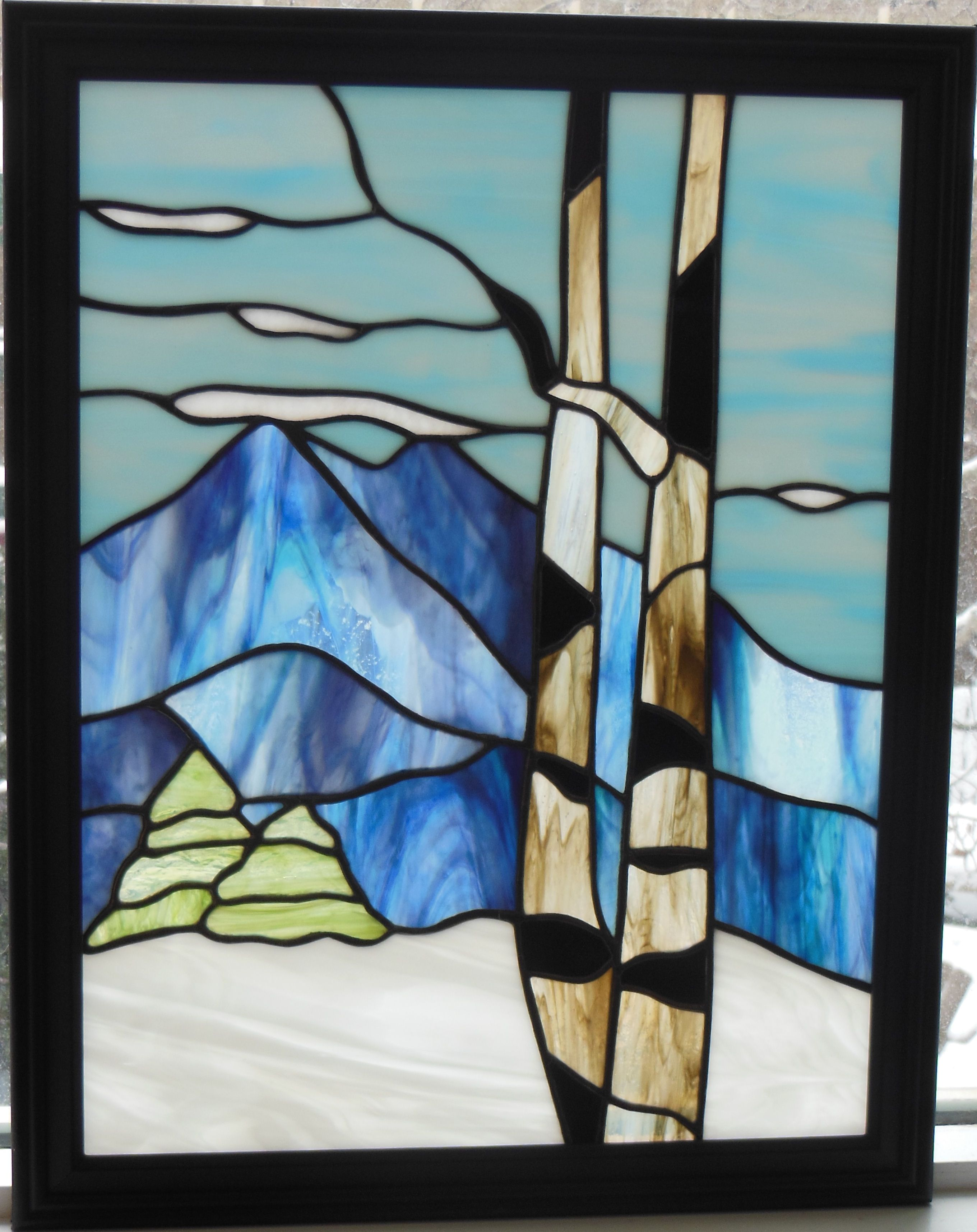 Winter Mountain Stained Glass Tiffany
