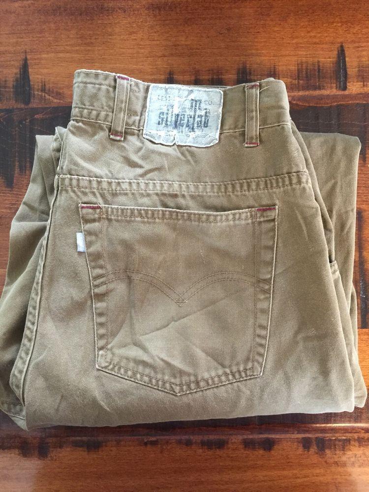 13a71537 Mens Levis Silvertab Baggy Jeans 33x30 Tan Brown Denim Silver Tab Levi's # SilverTab #BaggyLoose