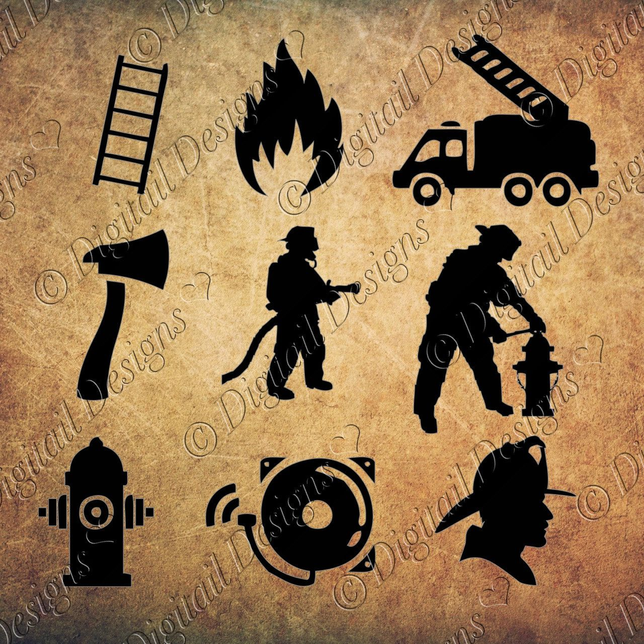 Firefighter Silhouettes Clipart Images svg, png, dxf, eps, fcm, ai ...