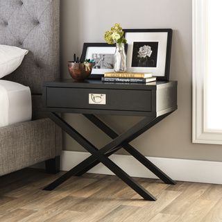 Inspire Q Kenton X Base Wood Accent Campaign Table Overstock Com