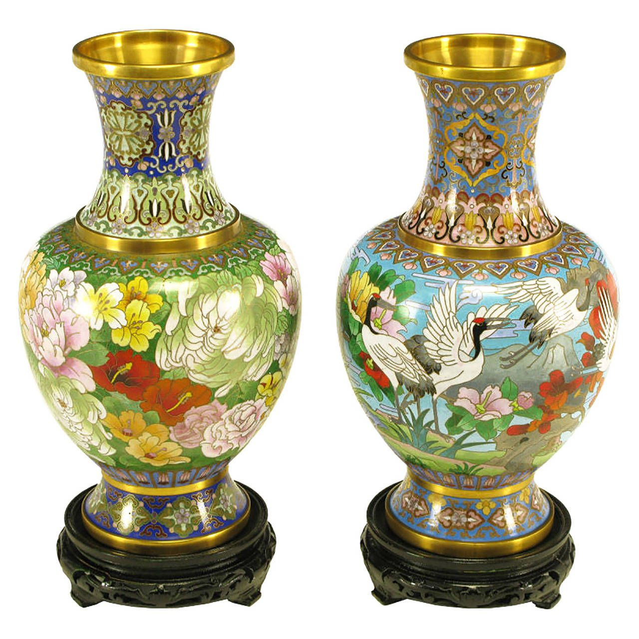 Pair of colorful chinese jingfa cloisonn vases with carved pair of colorful chinese jingfa cloisonn vases with carved mahogany bases reviewsmspy