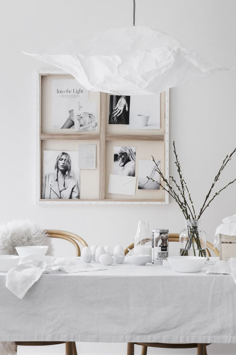 Bedroom interior setting a creative way of hanging artwork in an easter setting  via