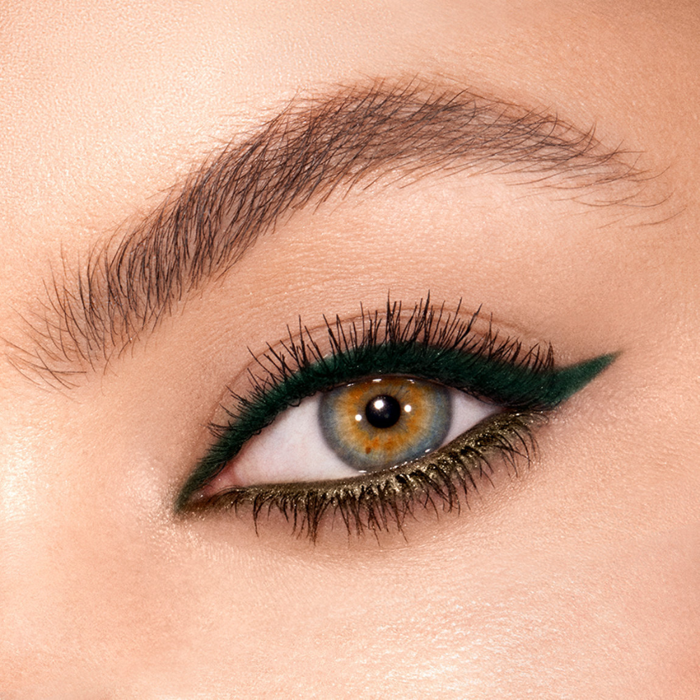 About Green Lights Green Lights Takes Hazel Eyes To A Golden State With This Stunning Shade About Charlo Green Eyeliner Makeup For Green Eyes Metallic Eyeliner