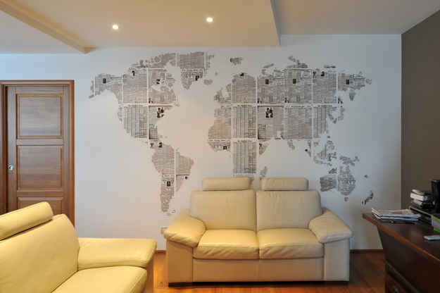 Use Newspaper To Make A Wall Design Like A Map Home Decor Decorating Your Home Home Diy