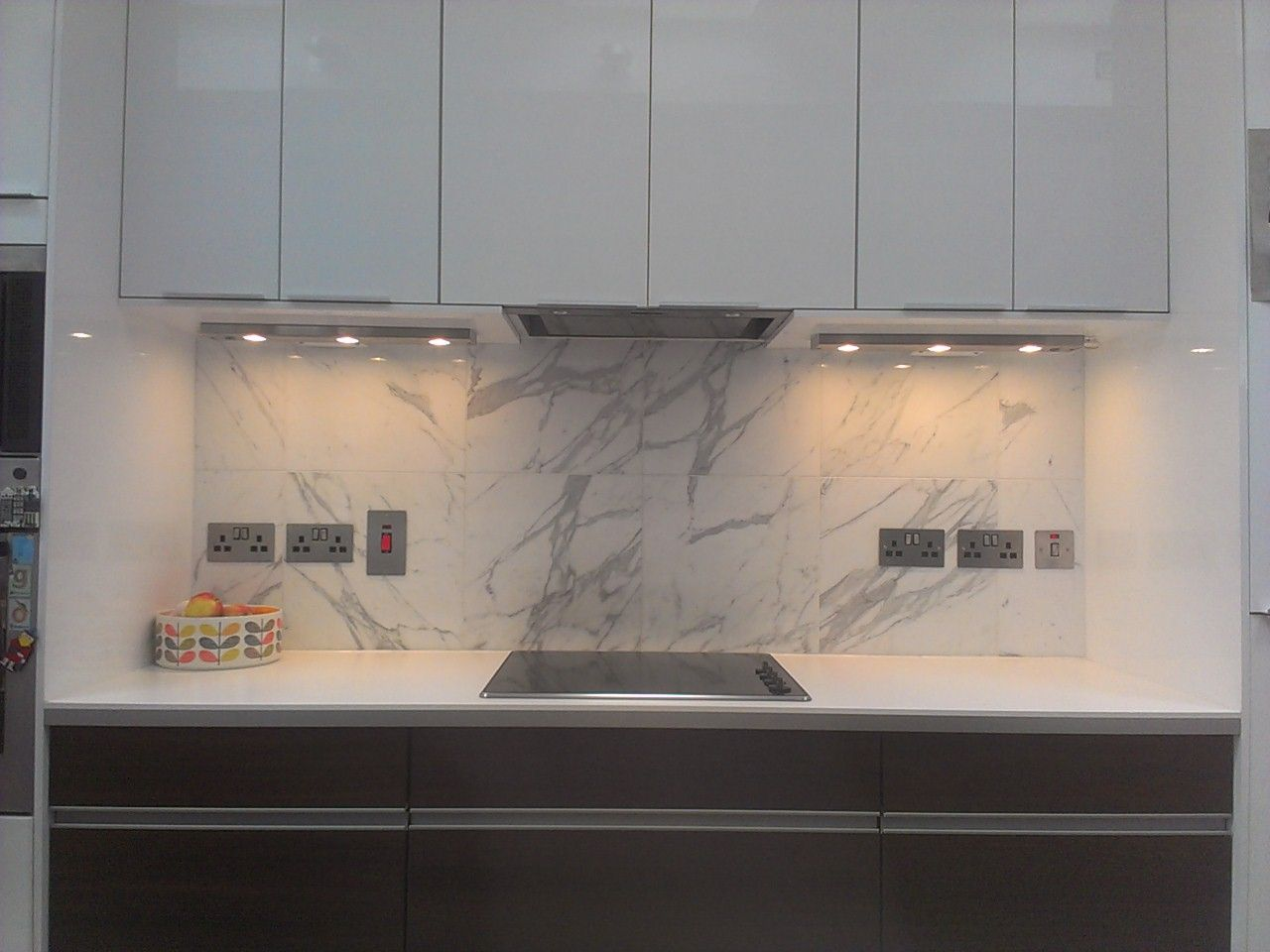 Marble Splash Back With Ikea Kitchen Units Mixed With Kube Kitchen