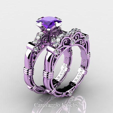 a57d1c3c16b037 Art Masters Caravaggio 14K Lilac Gold 1.25 Ct Princess Tanzanite Diamond  Engagement Ring Wedding Band Set R623PS-14KLGDTA