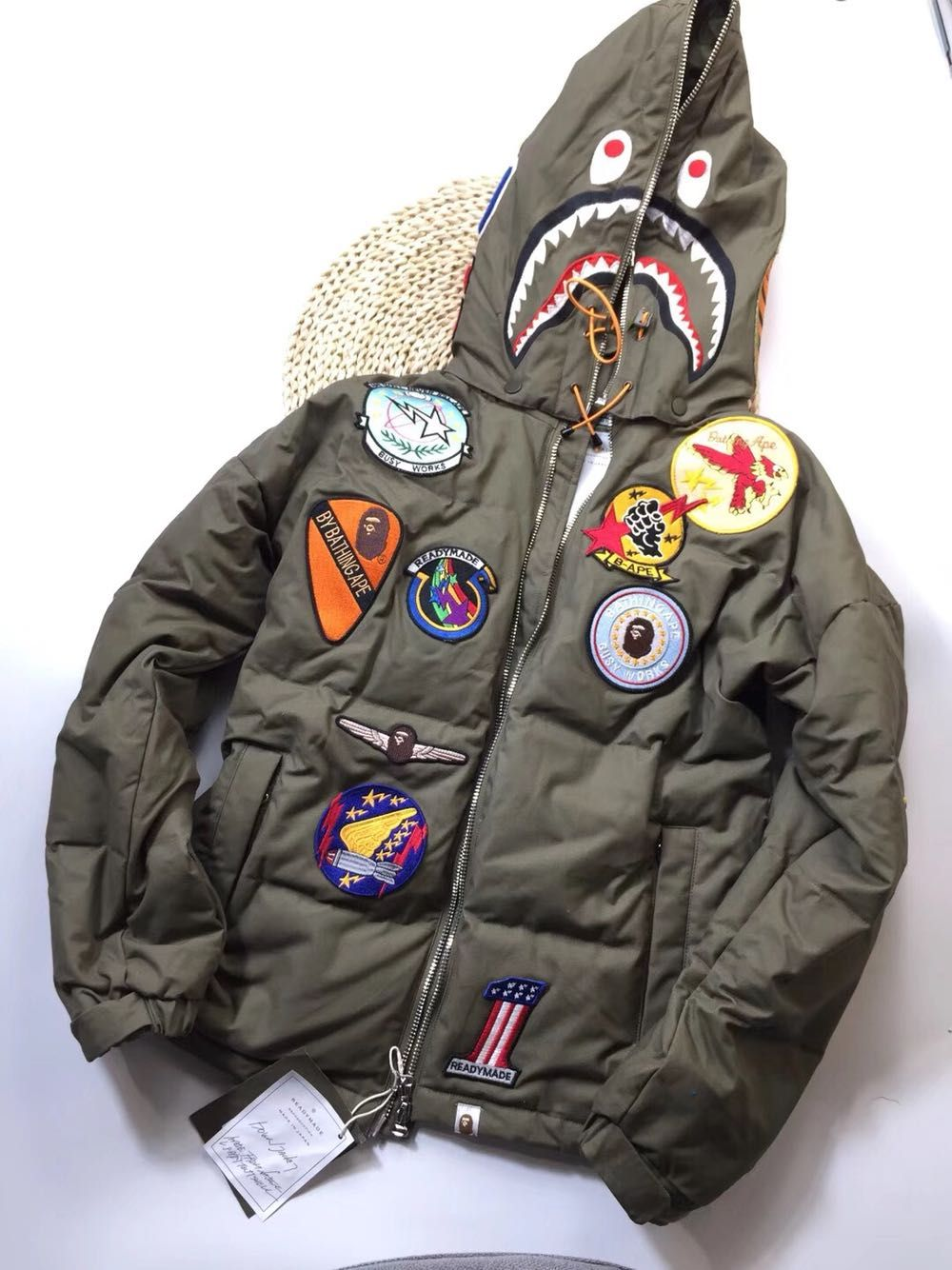 81521d04 BAPE APE READY MADE TIGER HOODIE GREEN DOWN BATCH JACKET #Hustlegang  #TrueReglion #RalphLauren