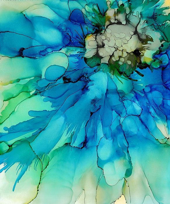Blue Magnificence Alcohol Ink Art Abstract Watercolor Alcohol