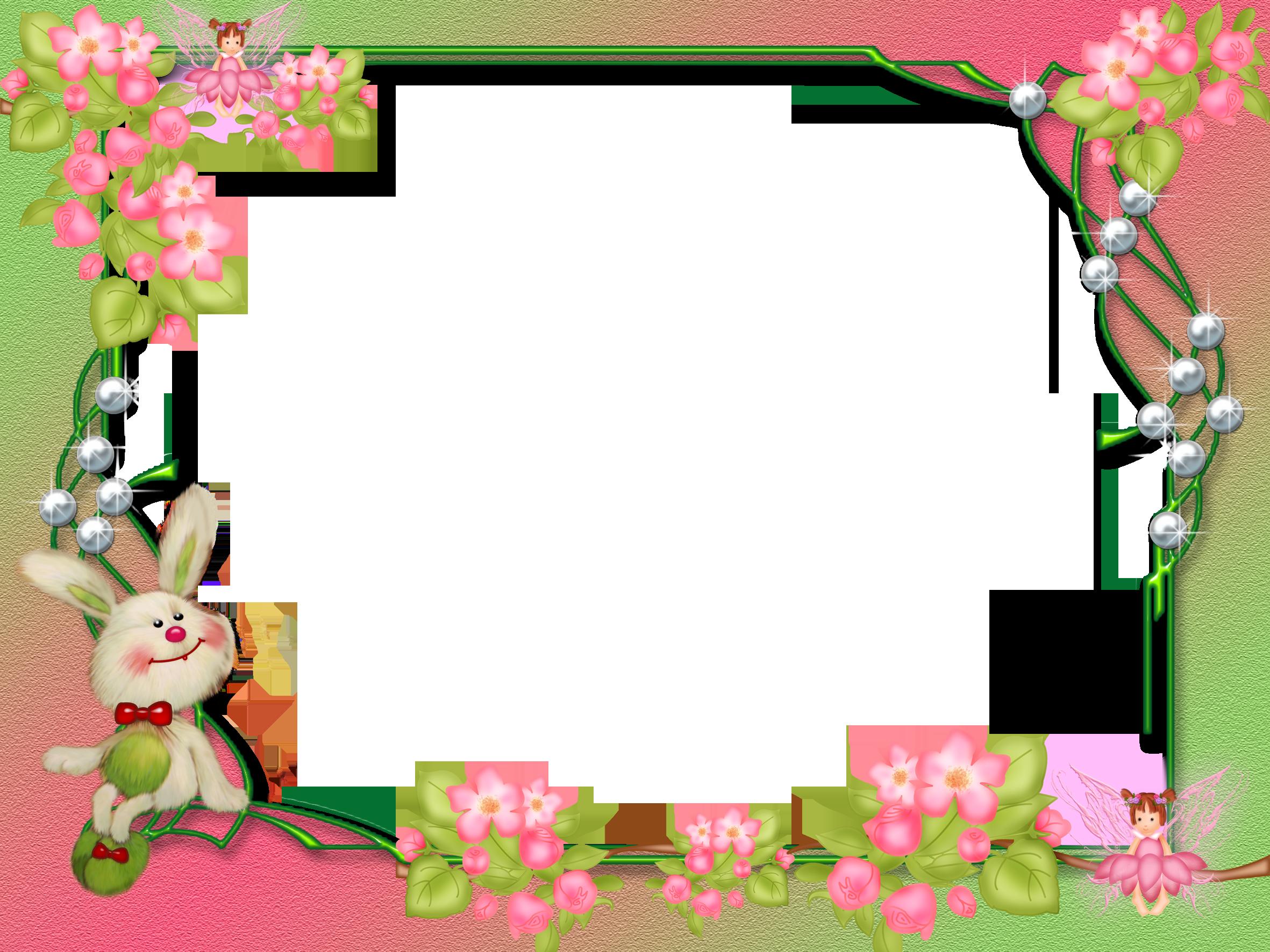 Small Frame - Bunny & Flowers   borders & frames   Pinterest   Bunny ...