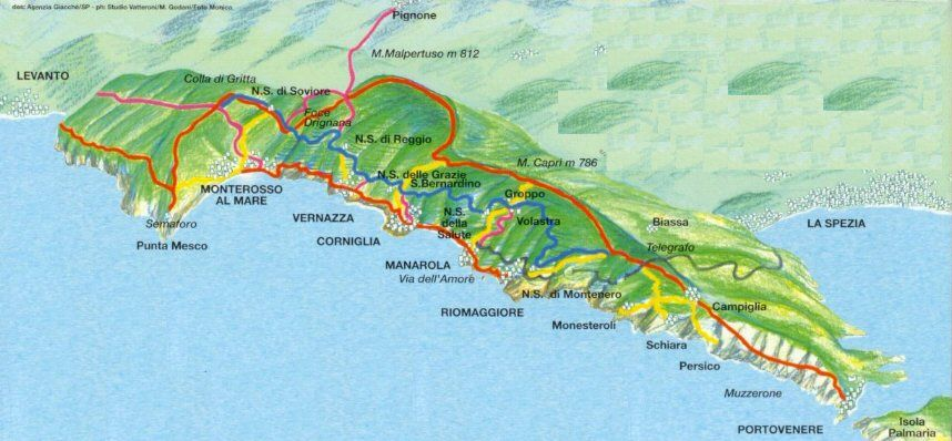 The Sentiero Azzurro Blue Path connects the five villages of the