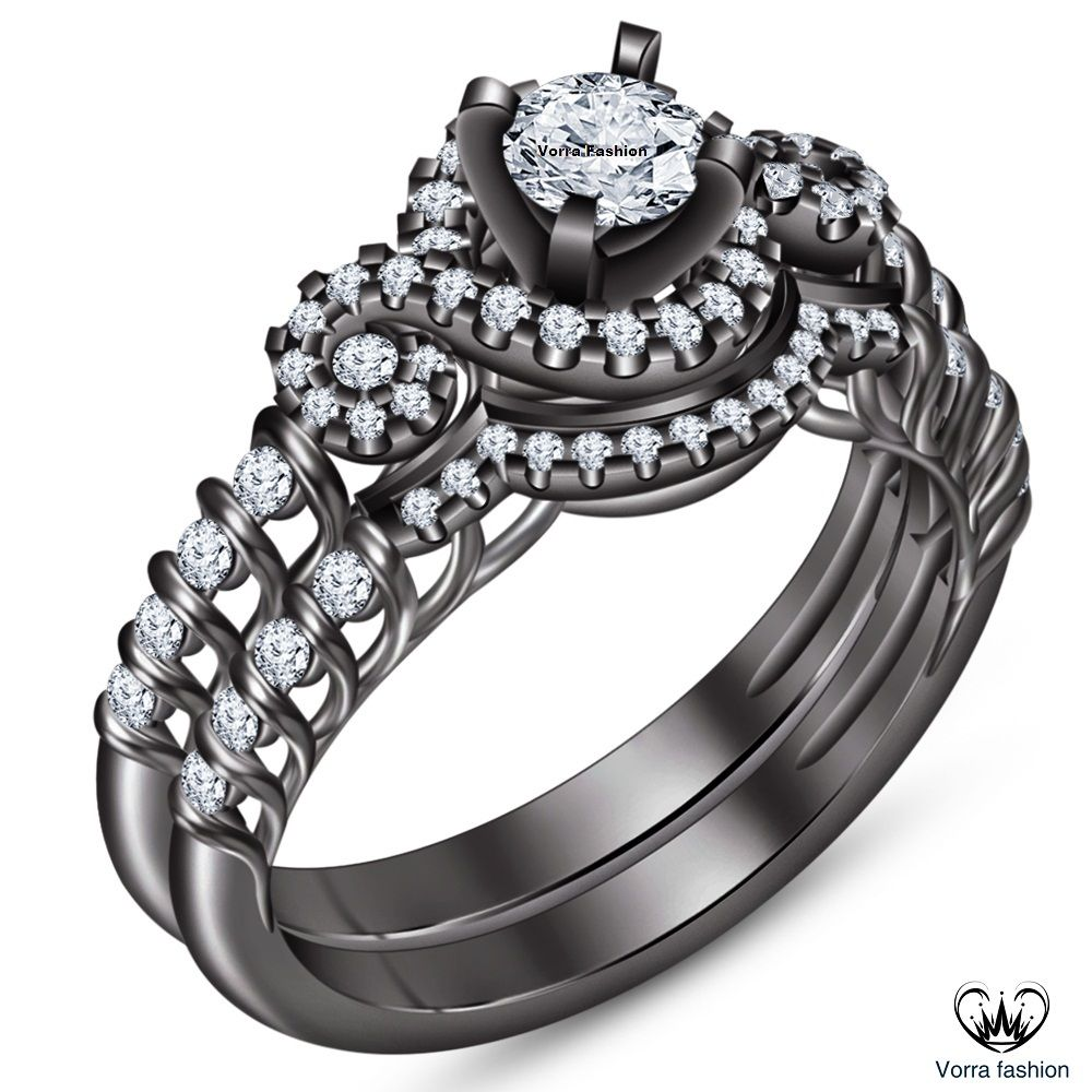 White Diamond 10k Black Gold Finish 925 Sterling Silver