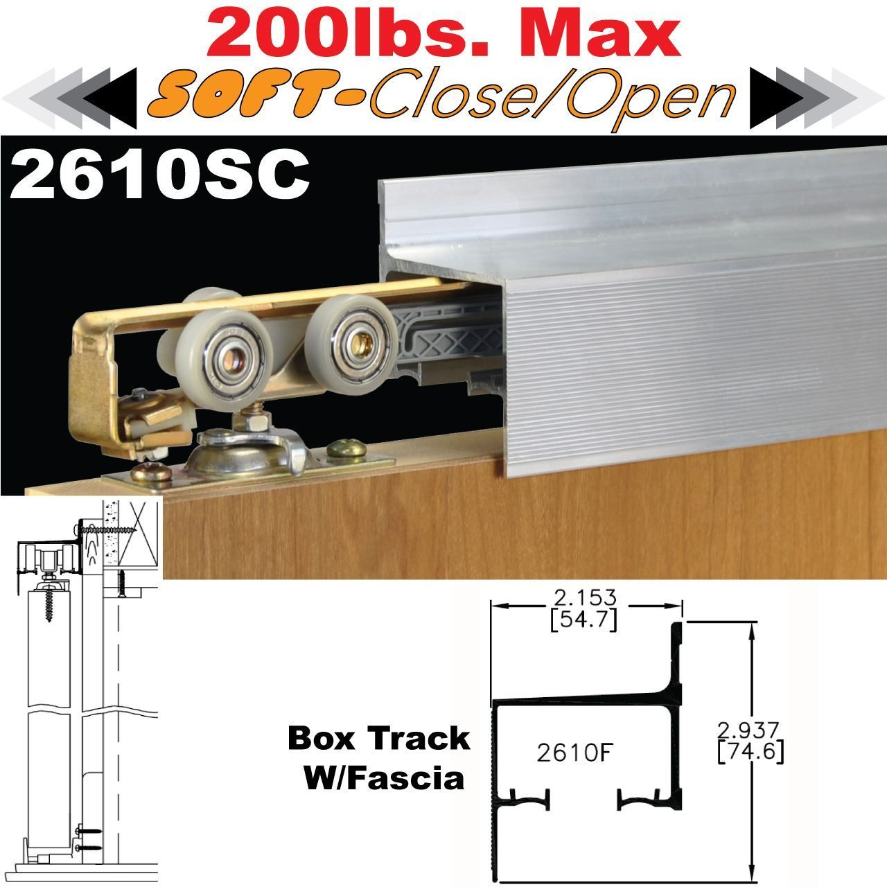 Picture of sc softclose wall mount sliding door hardware