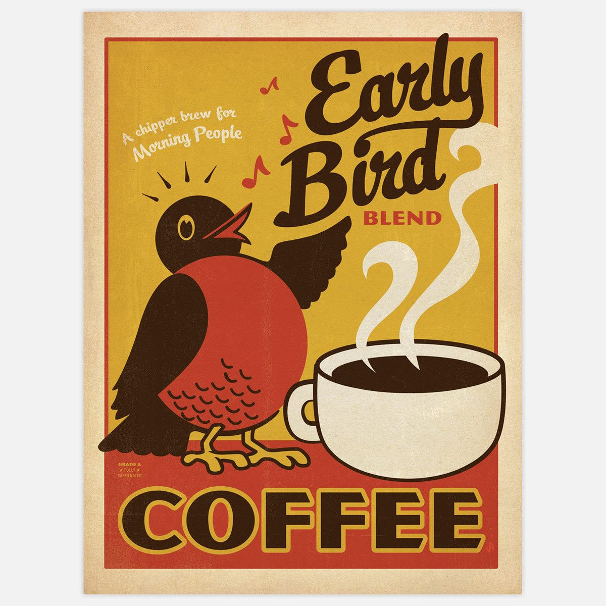 Early Bird Blend Coffee Art Print By Anderson Design Group