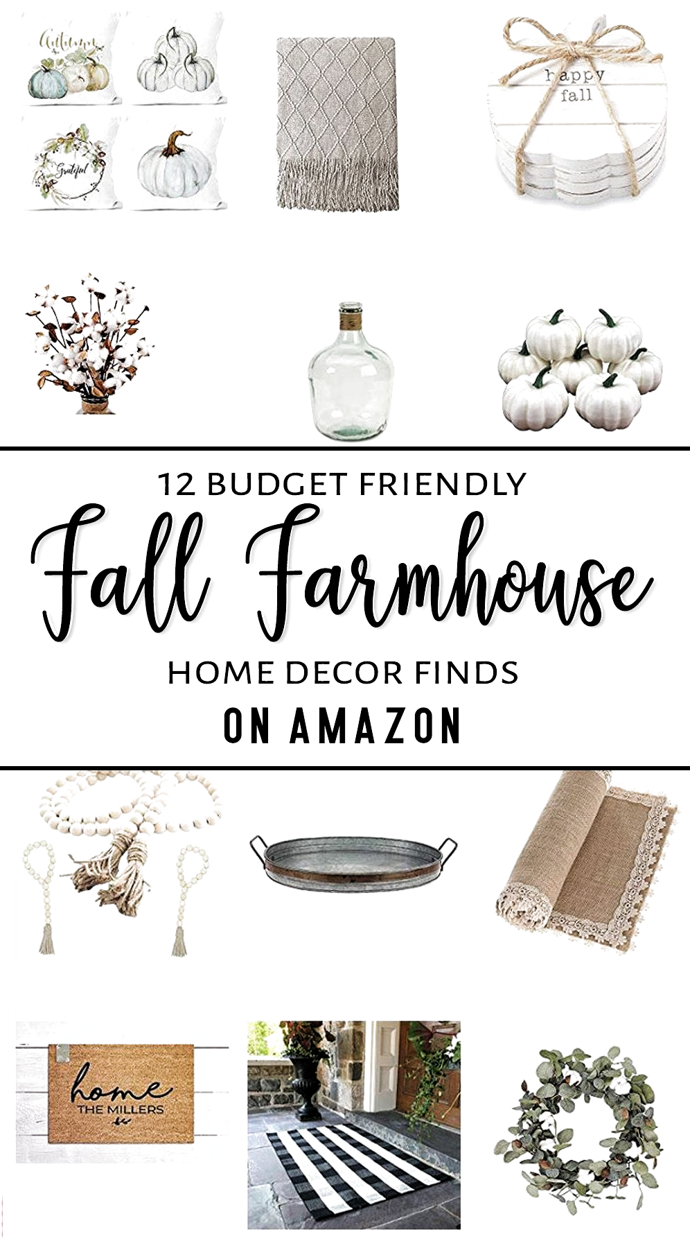 12 Affordable fall farmhouse home decor finds on Amazon! This is a dreamy collection of neutral whites, greens, and greige hues that will be sure to make your home warm & cozy for the fall season! —————————- #fallfarmhousedecor #falldecor #warm