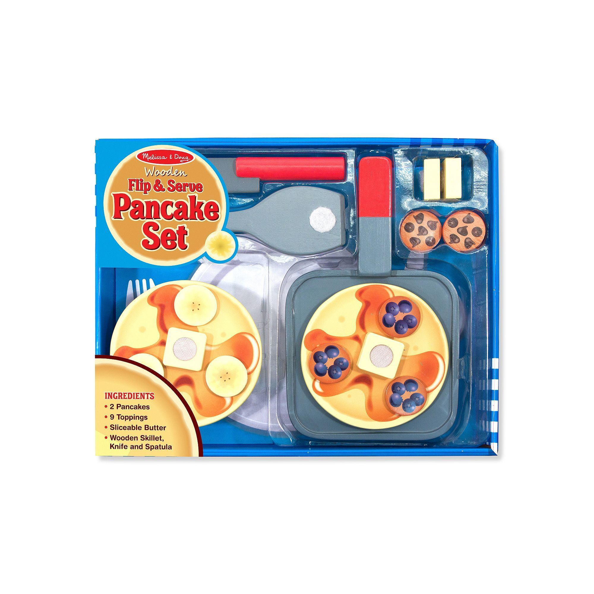 Melissa Doug Wooden Flip Serve Pancake Play Food Set
