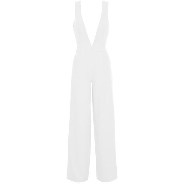 Plunge V Neck Wide Leg Jumpsuit White ❤ liked on Polyvore featuring jumpsuits, plunge, plunging v neck jumpsuit, plunge jumpsuit, white jumpsuit, v neck jumpsuit and jump suit