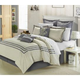8-Piece Cosmo Comforter Set in Silver & Beige