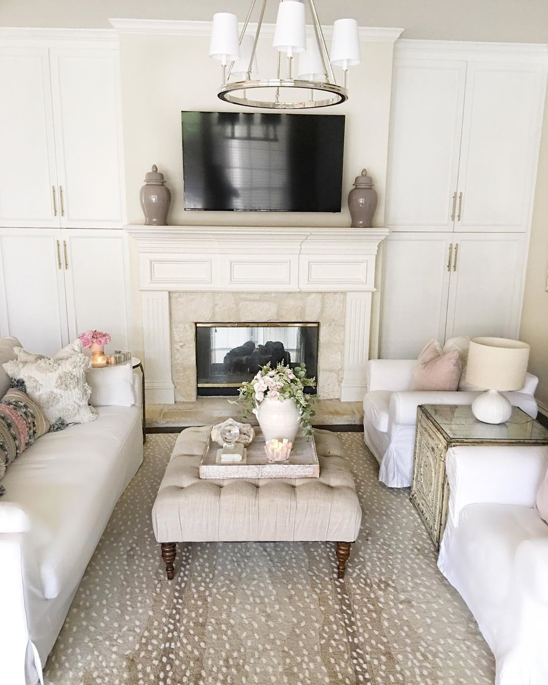 switched up my rugs in my living room this antelope print rug is so rh pinterest com