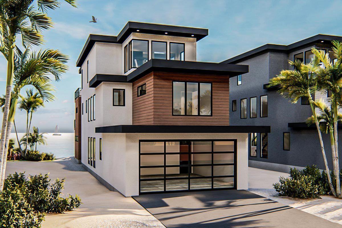 Plan 62850dj Modern Coastal House Plan With Third Floor Master Suite In 2020 Coastal House Plans Narrow House Plans Modern Style House Plans