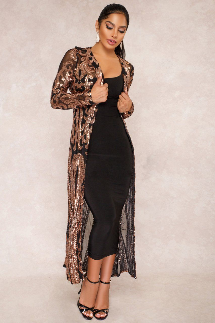 Womens Sequins Open Front Long Sleeve Club Maxi Cardigan for Evening Prom