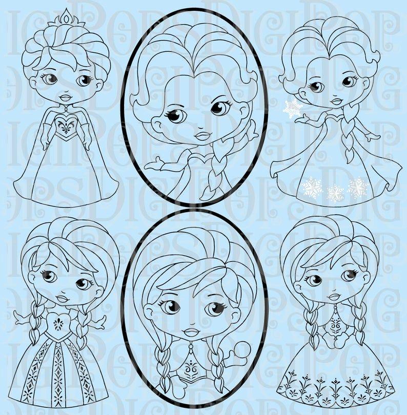 Snow Princess Black And White Digital Clip Art Set Personal Etsy In 2020 Digital Clip Art Set Digital Clip Art Art Set