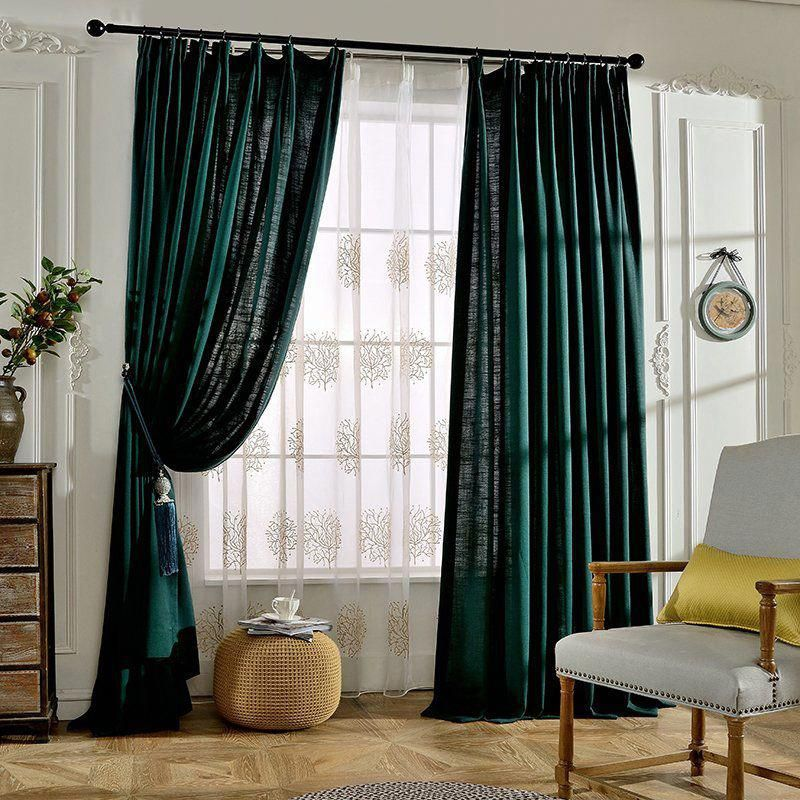 Emerald Green Solid Linen Pinch Pleated Tall Hotel Curtains  – Master bedroom