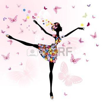 dessin papillons: Ballerina Girl avec des fleurs avec des papillons
