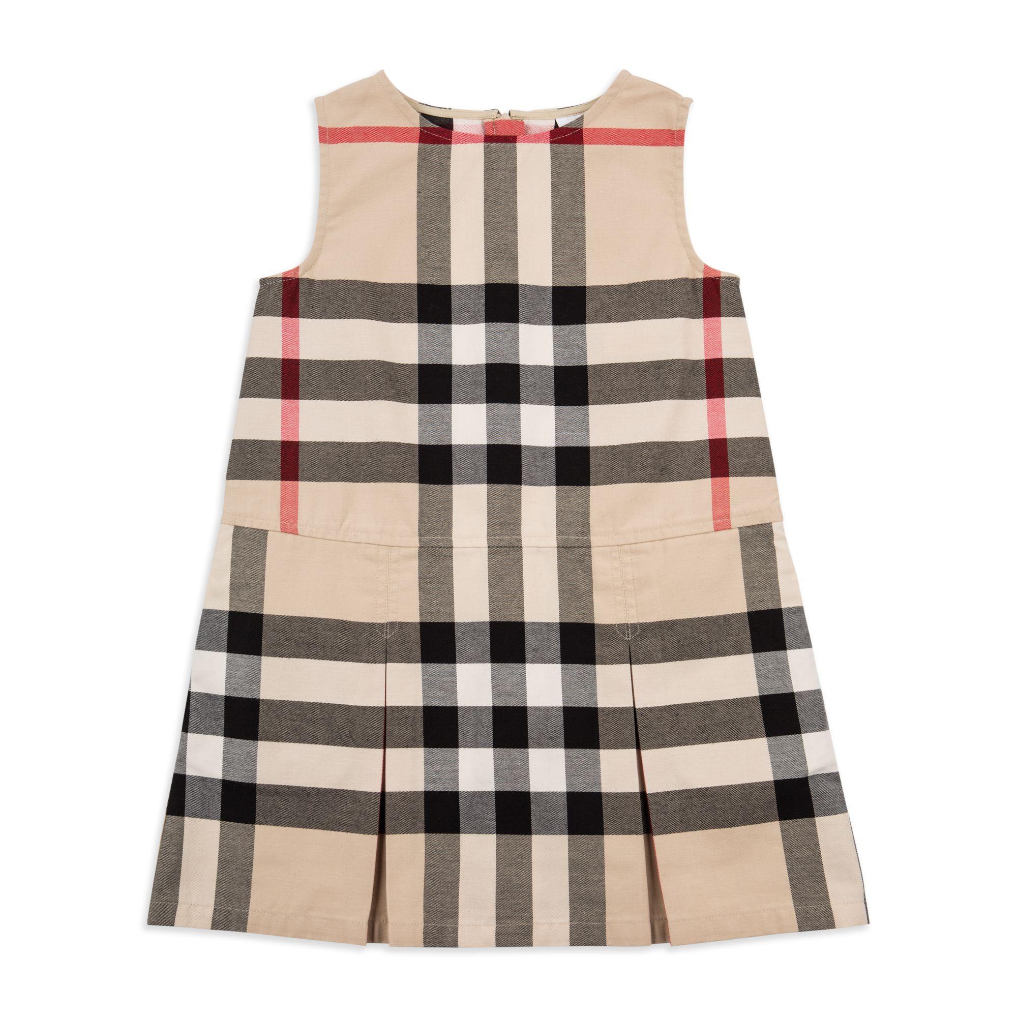 Burberry Girls Dawney Dress Beige Girls pinafore dress Soft