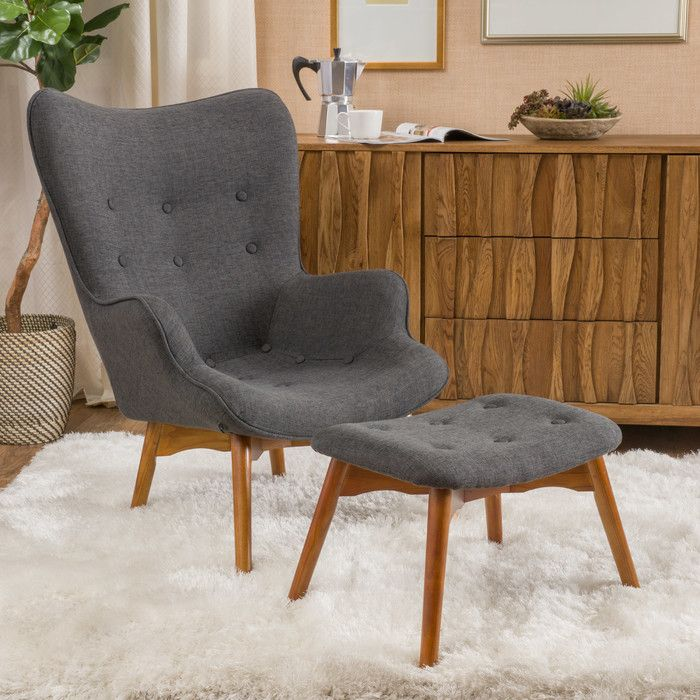 Celie MidCentury Lounge Chair and Ottoman Ottomans Arms and Mid