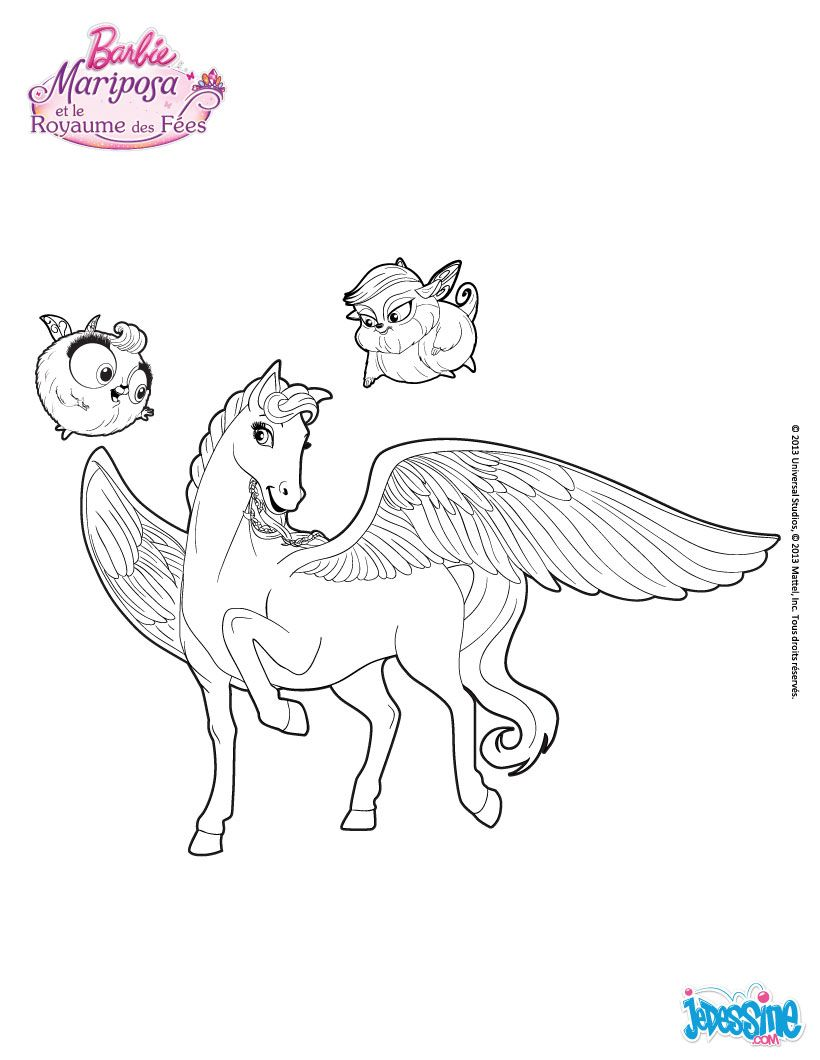 Coloriage De Cheval Avec Des Ailes.Coloriage Barbie Sylvie Le Cheval Aile De Mariposa Coloriage