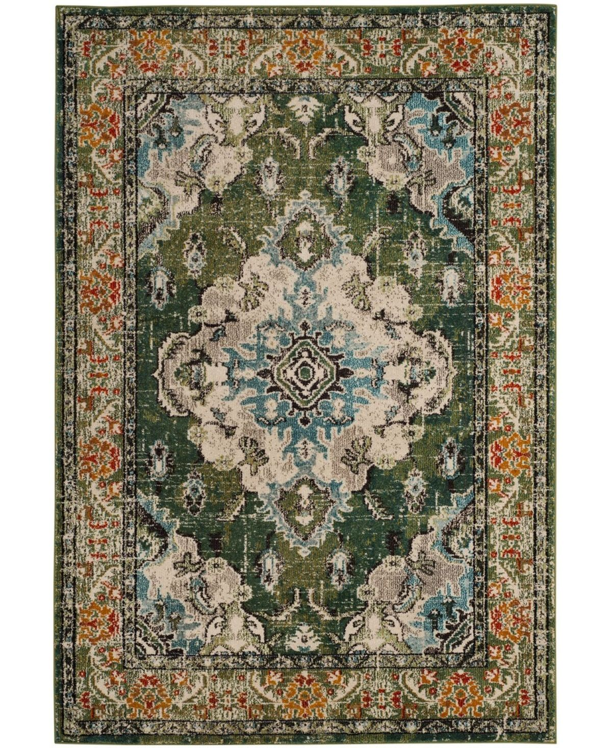 Safavieh Monaco Forest Green And Light Blue 8 X 10 Area Rug