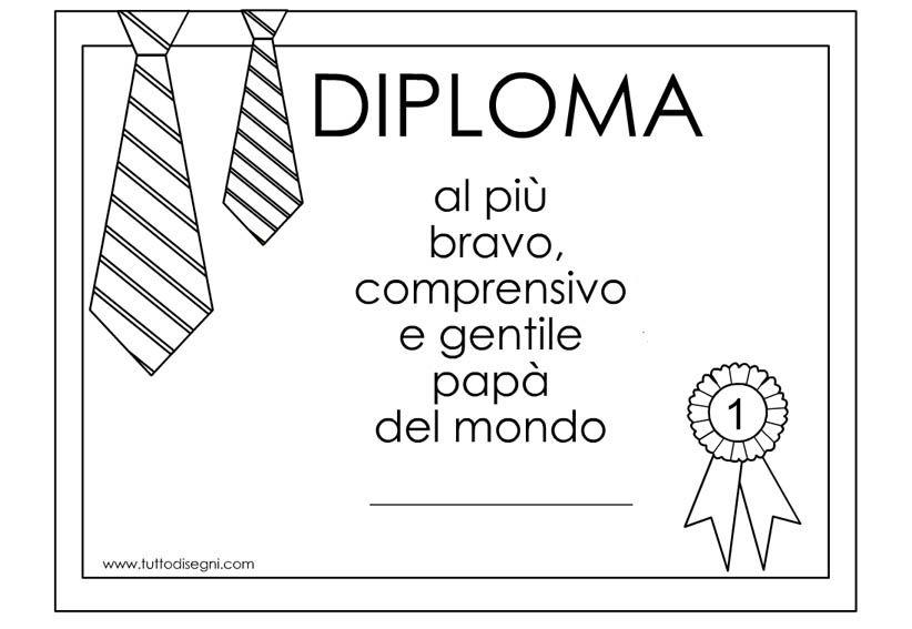 Diploma Per Il Papà Da Colorare Tuttodisegnicom Papa Daddy E