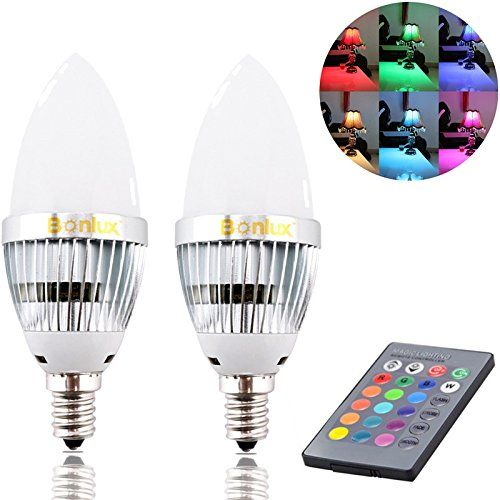 Bonlux 2 Pack 3w Rgb E12 Candelabra Led Bulb 16 Colors 4 Modes Choice Remote Control Color Changing Candle Light Bu Led Bulb Light Bulb Candle Rgb Led Lights