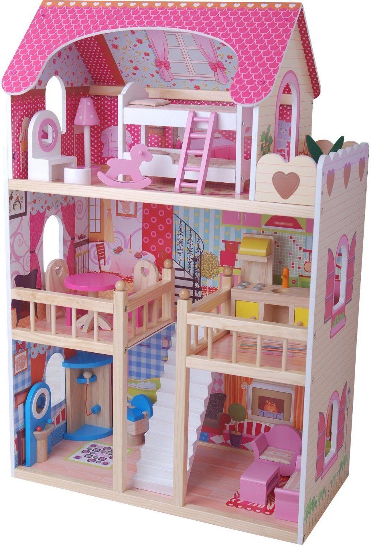 Sueño Mansion Casa de muñecas de madera con muebles   Casinha de ...