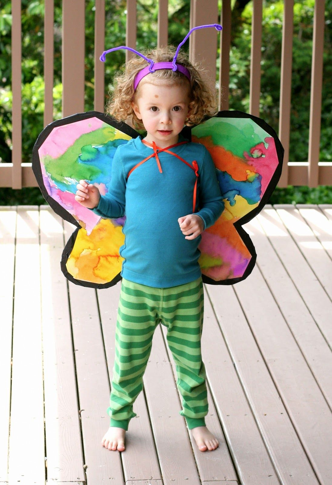 Super easy last minute Halloween costume idea - Make Your Own Cardboard Butterfly Wings from Fun at Home with Kids