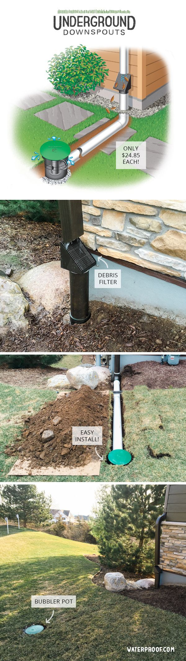 Lawn care just got easier underground downspouts are easy for Downspout drain