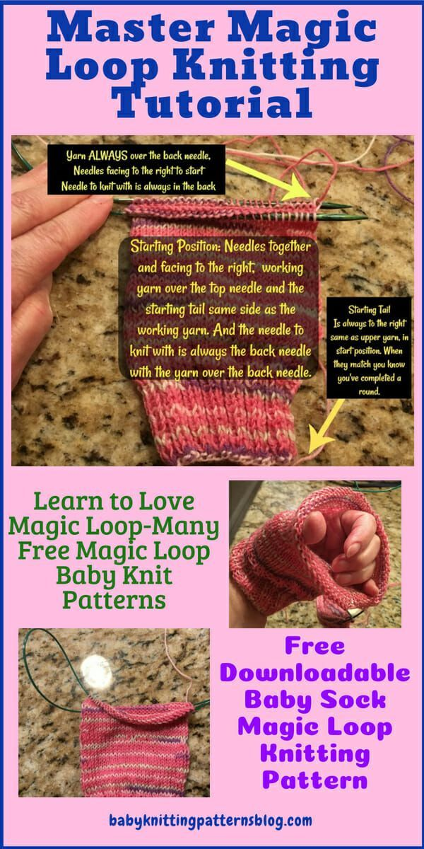 Master Magic Loop Knitting Tutorial and Free Download Baby Sock Pattern