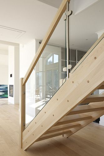 staircase with glass panels and wood - Google Search