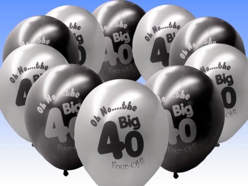 20 Black Silver 40th Birthday Party 11 Pearlised Latex Printed