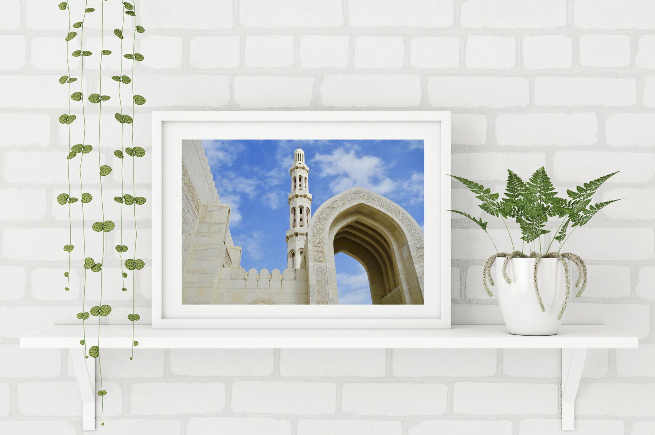 Himmel Uber Der Moschee Neben Dem Basar Ist Die Moschee Ein Weiteres Typisches Charakteristikum Der Muskat Oman Poster Shop Moschee Foto Poster
