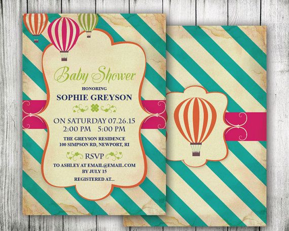 Hot air balloon baby shower invitation up up and away diy hot air balloon baby shower invitation up up and away diy printable gender neutral vintage modern oh the places pink teal travel filmwisefo Choice Image