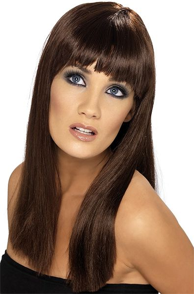 Brown Babelicious Wig Long Straight Adult Womens Smiffys Fancy Dress Costume